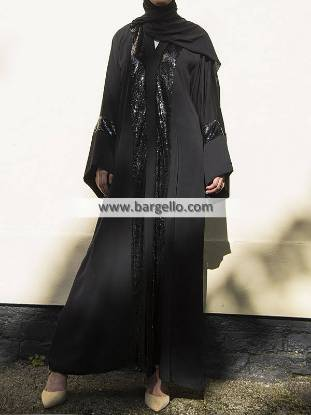 Black Metallic Sequin Open Abaya Riyadh Saudi Arabia Jilbab Designs