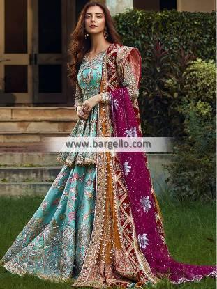 Dark Green Bridal Peplum Lehenga Pakistani Designer Peplum Lehenga