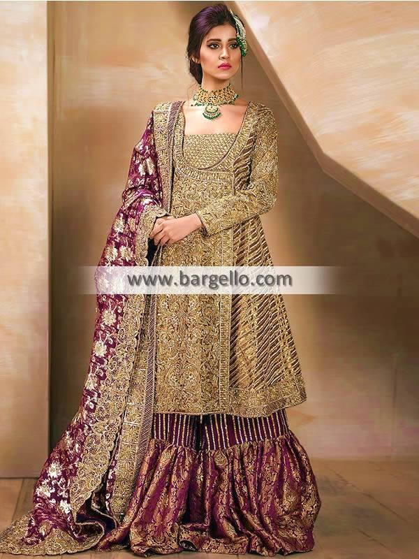Lajwanti Indian Pakistani Bridal Angrakha Dresses USA Lilburn Atlanta Angrakha Gharara Dresses