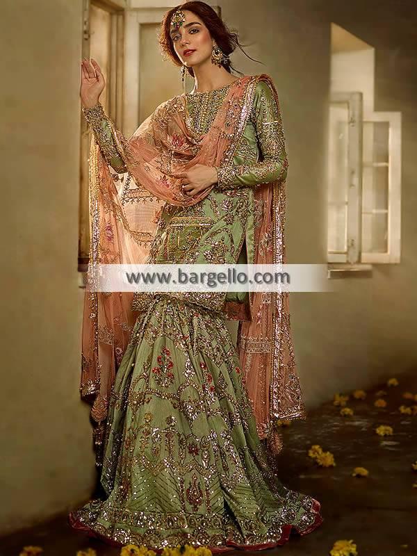 Indian Pakistani Bridal Gharara USA Beverly Hills California Designer Gharara Collection