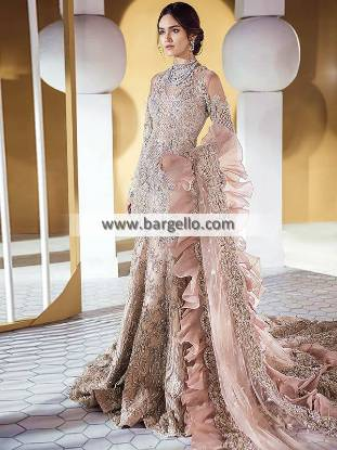 Fanback fishtail luxurious bridal Lehenga Sacramento Haywar California Pakistani Designer Bridal Dresses With Price