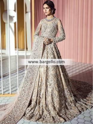 Traditional Bridal Maxi Suit Bradford UK Suffuse By Sana Yasir Bridal Sharara Collection Pakistan
