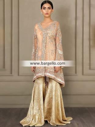 Pakistani Gharara Suits with Angrakha Style Shirt Glasgow Scotland Designer Gharara Suit