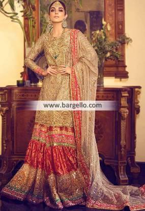 Traditional Wedding Gharara Bromley London UK Mukesh Work Bridal Wear