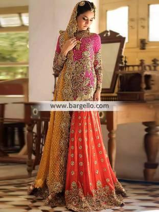 Traditional Bridal Sharara Bradford UK Nomi Ansari Dholak Bridal Sharara Collection