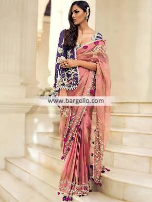 Pakistani Designer Saree for Bridal Party Event Formal Event Saree Modern Style Saree