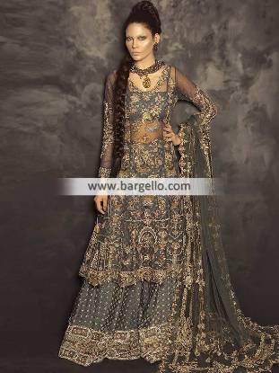 Elegant Bridal Sharara Chicago Illinois IL USA Walima Dresses Bridal Sharara