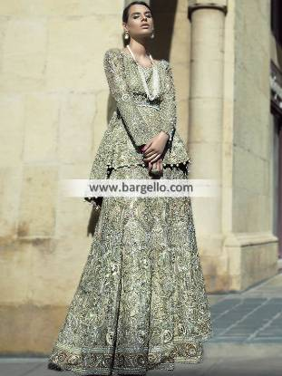 Peplum Wedding Lehenga San Francisco California CA USA Pakistani Designer Lehenga