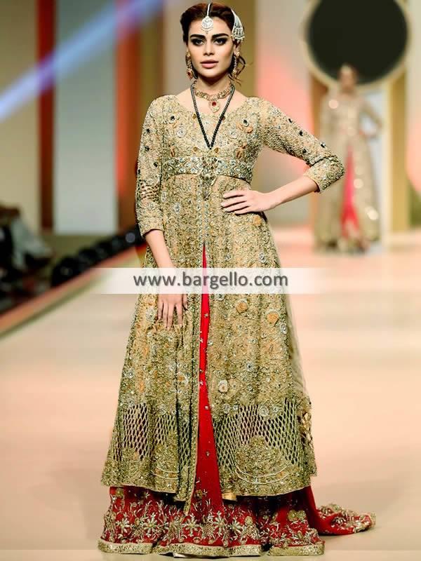 Traditional Bridal Anarkali with Lehenga Pakistani Designer Lehenga Suits