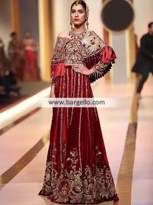 Cape Style Bridal Lehenga Dresses St. Louis Missouri MO USA Pakistani Designer Lehenga