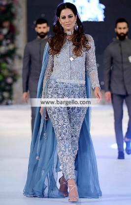 Exquisite Designer Jumpsuit with Embellished Waistbelt Soho Road UK Pakistani Jumpsuits HSY Wedding