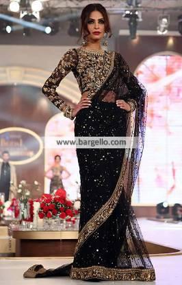 Pakistani Saree Designer Saree Black Embroidered Sarees in Chiffon
