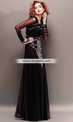 Black Evening Gown Evening Dresses Jersey City New Jersey NJ USA Pakistani Gown Cara Gowns