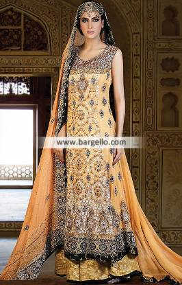 Glowing Anarkali Bridal Dresses Bell Bar UK with Heavy Embellishments Hameedas Bridal Dresses