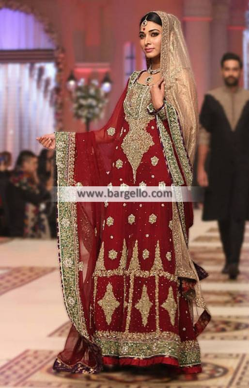 Glorious and Traditional Anarkali Bridal Dress Newark New Jersey NJ US With Trouser Heavy Dupatta