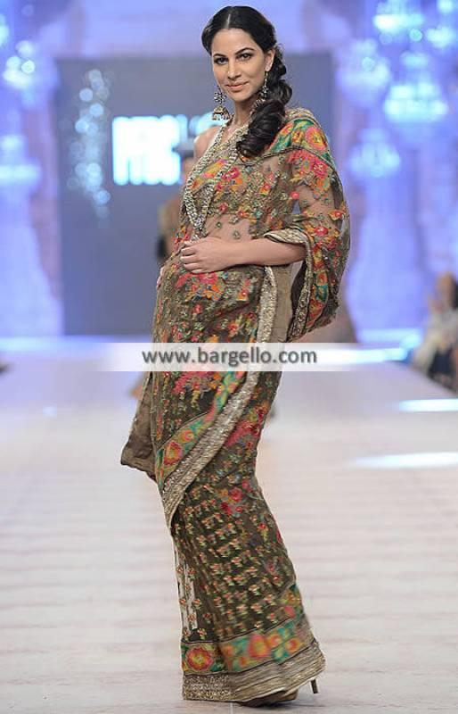 Sana Safinaz Bridal Saree Deluxe Saree Girls Saree Colorful Saree Wedding Saree PFDC 2014