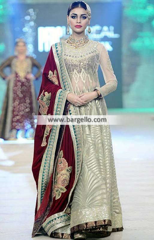 Akif Mahmood Bridal Collection Bridal Lehenga and Heavy Embellished Velvet Dupatta