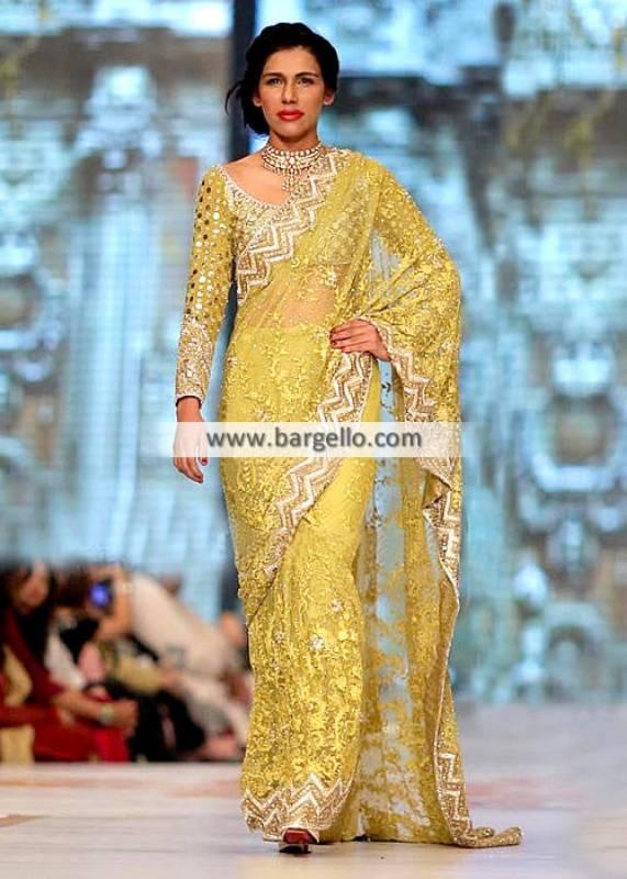 Faraz Manan Chiffon Saree Bell Bar London Wedding Saree Pakistan