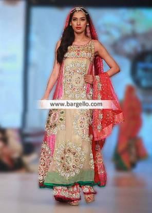 Anarkali Bridal Suits Embellished Bridal Sharara Oldham London UK Somal Halepoto PBCW 2014