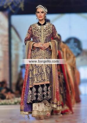 Designer Long Bridal Shirt with Bridal Sharara Katy Texas USA Deepak Perwani Bridal Collection