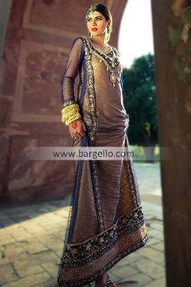 Embroidered Party Wear Suits For Evening Functions From Pakistan By Threads and Motifs