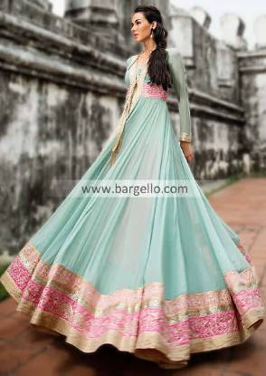 Amazing Turquoise Anarkali Dress with Super Cute Embroidery For Ladies 2013 by Threads and Motifs
