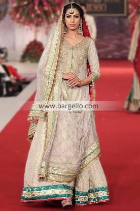 Asian Bridal Sharara Suits by Pakistani Designer Mehdi at Pantene Bridal Couture Week Bedford UK