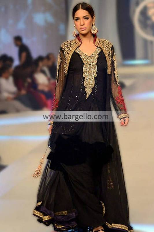 Black Party Outfits in Chiffon by Designer Asifa & Nabeel at Bridal Couture Week Oklahoma City OK