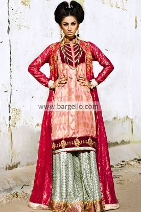 Asian Bridal Sharara Suits 2013 Arlington Virginia, Asian Party Wears for Special Occasions 2013 USA
