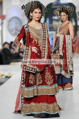Ammar Shahid Red Bridal Sharara Dress at Bridal Couture Week New York City NY