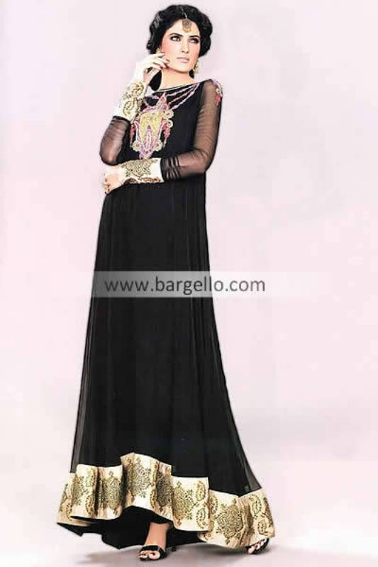 Stylish Black Party Evening Long Suit by Mehdi Bolton UK, Long Formal Chiffon Suit by Mehdi