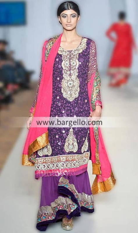 Ayesha Ibrahim's Purple Combination For Parties & Evening Occassions at Pakistan PFW London UK