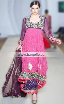 Ayesha Ibrahim's Pink Suit For Parties & Evening Occassions at Pakistan Fashion Week London UK