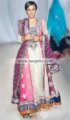 Ayesha Ibrahim's Glorious Colorful Anarkali Dress For Evning Parties at Pakistan PFW London UK