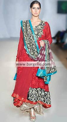 Ayesha Farooq Hashwani Eye-catching Red Dress For Evning Parties at Pakistan Fashion Week London