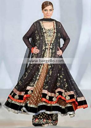 Designer Waseem Noor Gorgeous Black Outfit For Evening Parties at Pakistan Fashion Week London UK