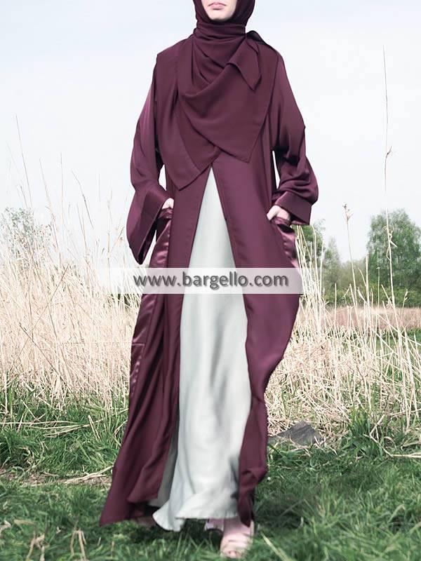 Caponata Raw Silk Open Abaya Lumington London UK Premium Quality Jilbab