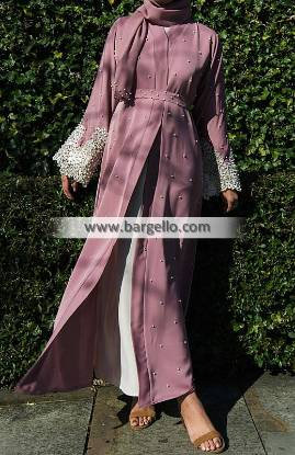 Bonita Pink Pearl and Lace Open Abaya Abu Dhabi UAE Embroidered Jilbab