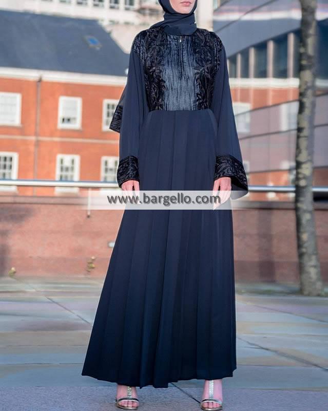 Blue Lady Velvet Empress Abaya Doha Qatar Jilbab Designs