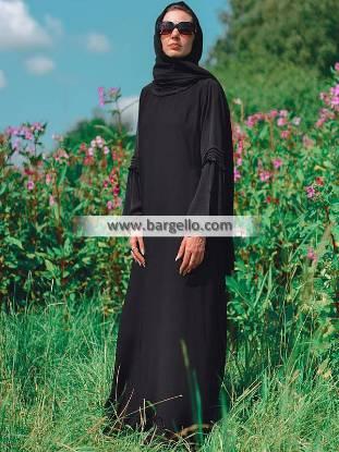 Black Pleated Ruffle Abaya Jeddah Saudi Arabia Premium Quality Jilbab