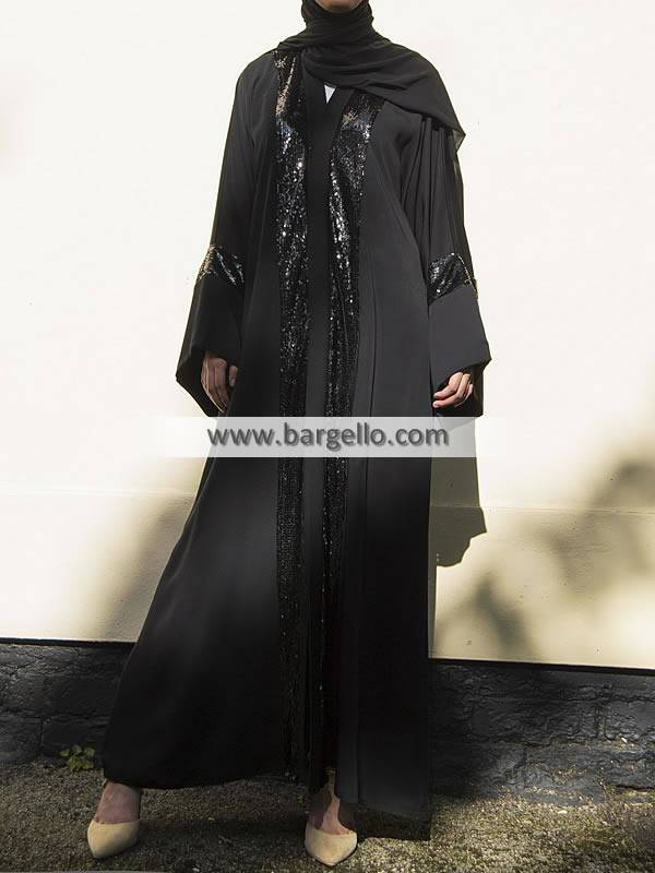 Black Metallic Sequin Open Abaya Riyadh Saudi Arabia Jilbab Designs