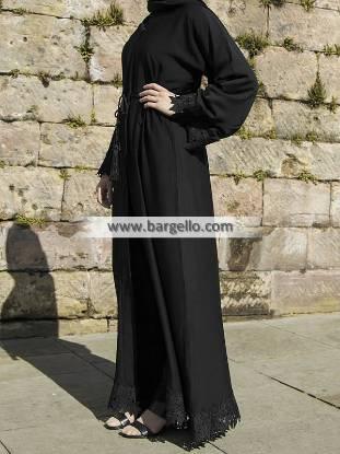 Black Lace Leaf Inner Belt Open Abaya Luasanne Switzerland Amazing Jilbab Outfits