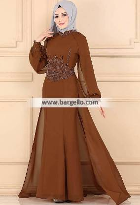 Brown Crocus Los Angeles LA California CA USA High Quality Embroidered Jilbab