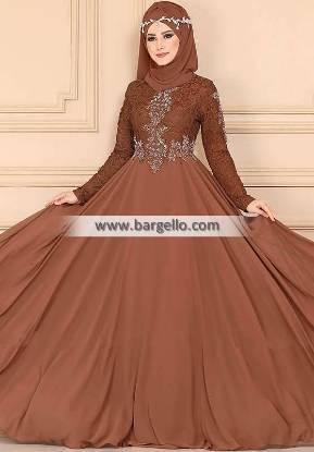 Brown Carnation Quebec City Canada Stylish Embroidered Jilbab