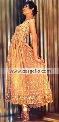 Antique Gold Lovely Anarkali Dress hand embroidered work