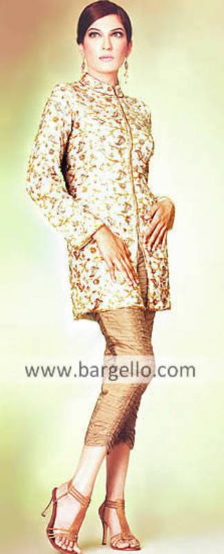 Cream hand embellished jacket and tufted trousers high fashion dress from Pakistan