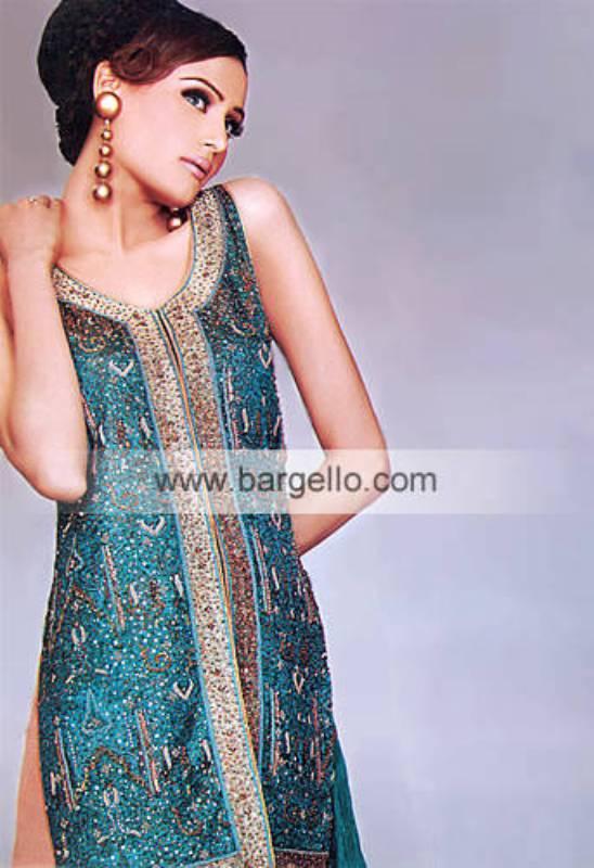 Turquoise High Fashion Evening Wear Pakistani Dress