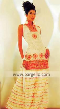 Ruched Frill Layer Sharara Pants Two Legged Skirt Pakistani Bridal Designs