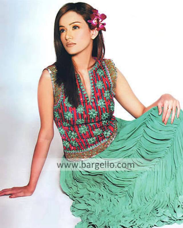 Aqua Bohot Skirt with Shirred pleats. 100% handmade embroideries made in Pakistan