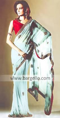 Turquoise Saree a series of Turquoise Gharara Karachi based Designers Sari Saree